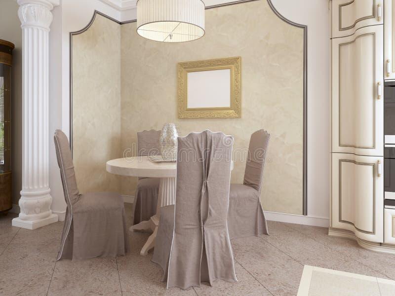 Mesa de jantar redonda clássica com quatro cadeiras em uma cozinha luxuoso ilustração do vetor