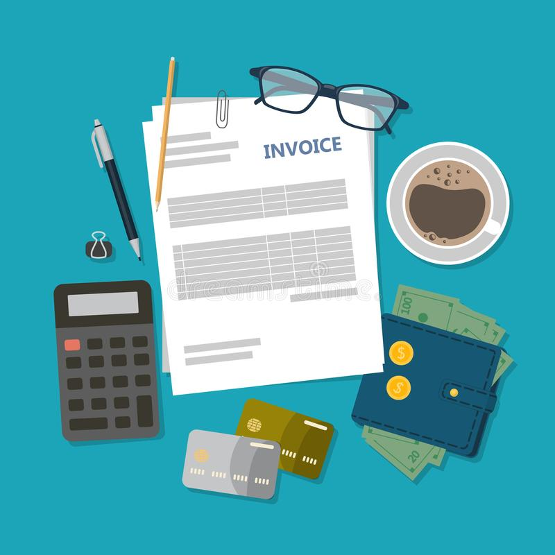 Mesa de la factura stock de ilustración