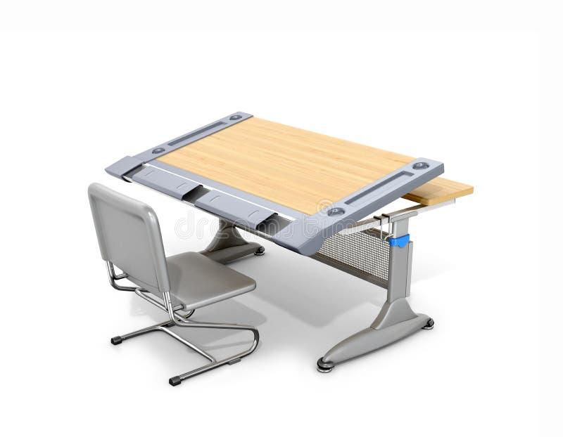Mesa de madeira e cadeira da escola isoladas no branco ilustração royalty free