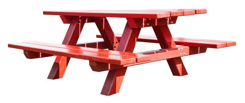 Mesa de picnic de madera sobre fondo blanco para una selección fácil imagen de archivo