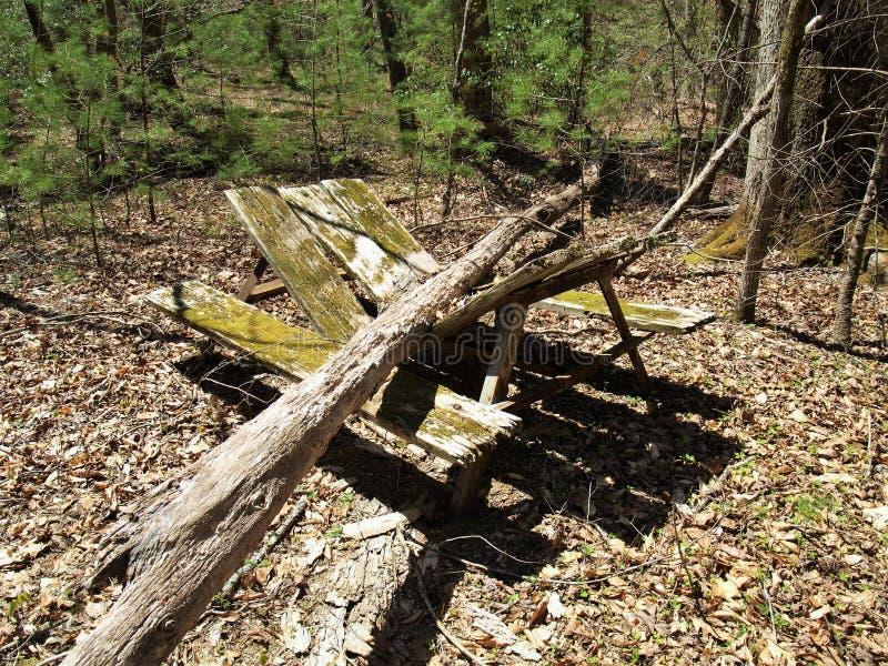 Mesa de picnic quebrada en camping abandonado imagen de archivo