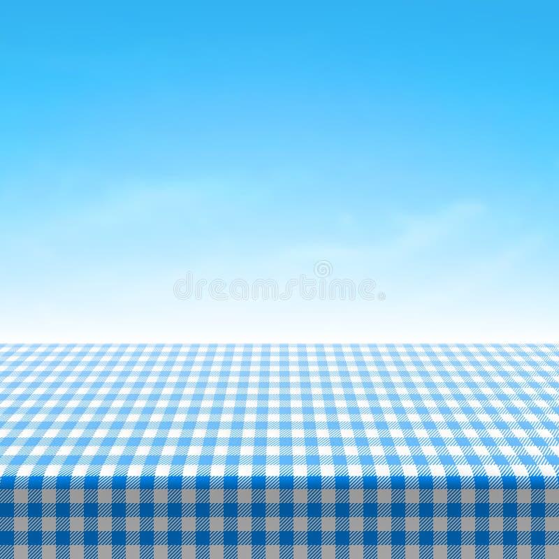 Mesa de picnic vacía cubierta con el mantel a cuadros azul ilustración del vector