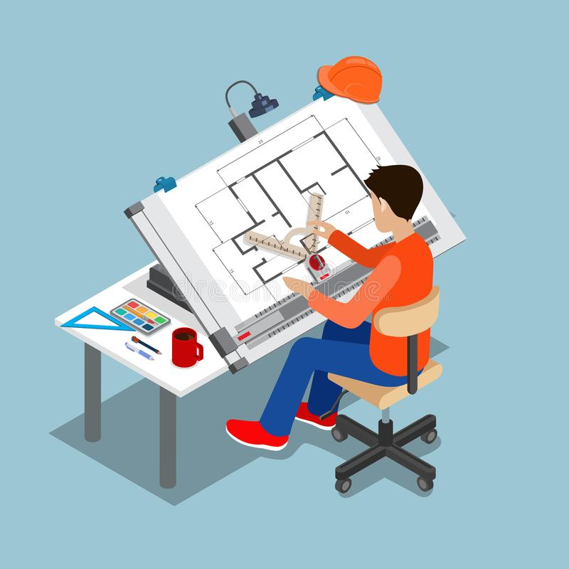 Mesa de projeto arquitetónica isométrica t do estilo liso ilustração royalty free