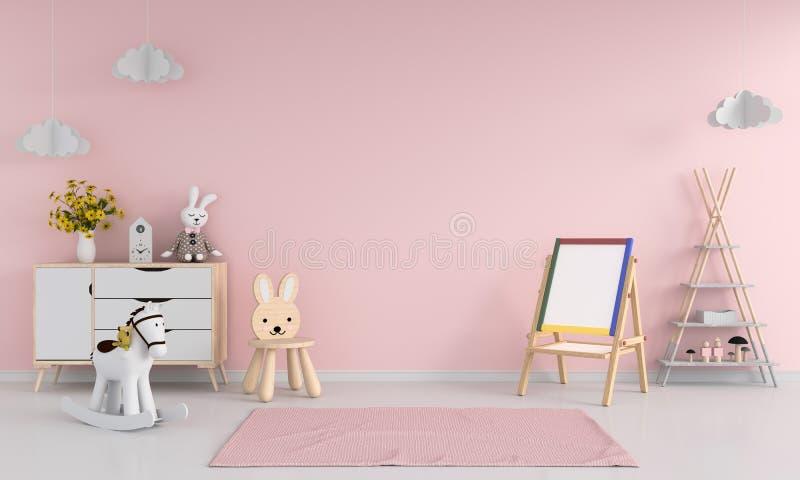 Mesa de projeto e cadeira no interior cor-de-rosa da sala de criança para o modelo, rendição 3D ilustração do vetor
