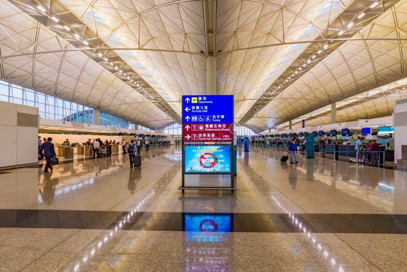 Mesa de registro no aeroporto internacional de Hong Kong fotos de stock