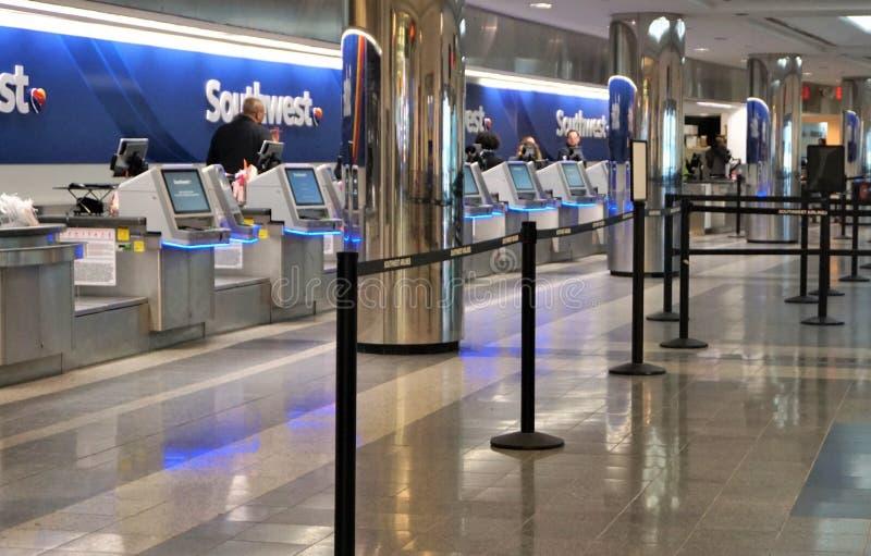 Mesa de registro de Southwest Airlines imagens de stock