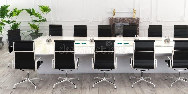 Mesa de reuniones panorámica ilustración del vector