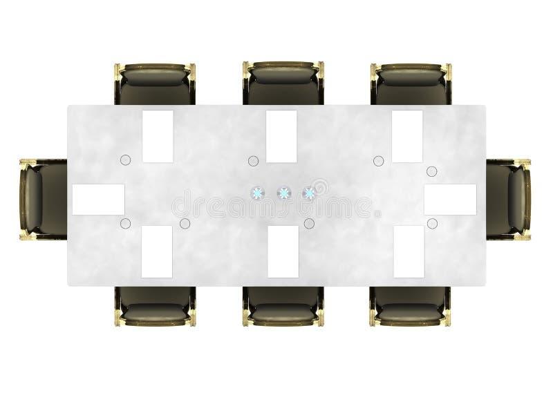 Mesa de reuniones, mesa de reuniones vista desde arriba, eventos Sala de conferencias ilustración del vector