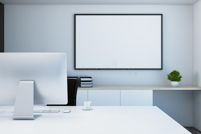 Mesa del diseñador con el cartel vacío libre illustration