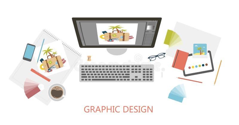 Mesa del diseñador gráfico ilustración del vector