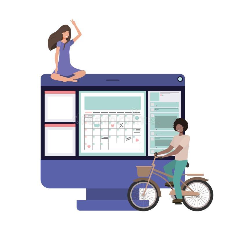 Mesa del ordenador con el icono de los pares ilustración del vector