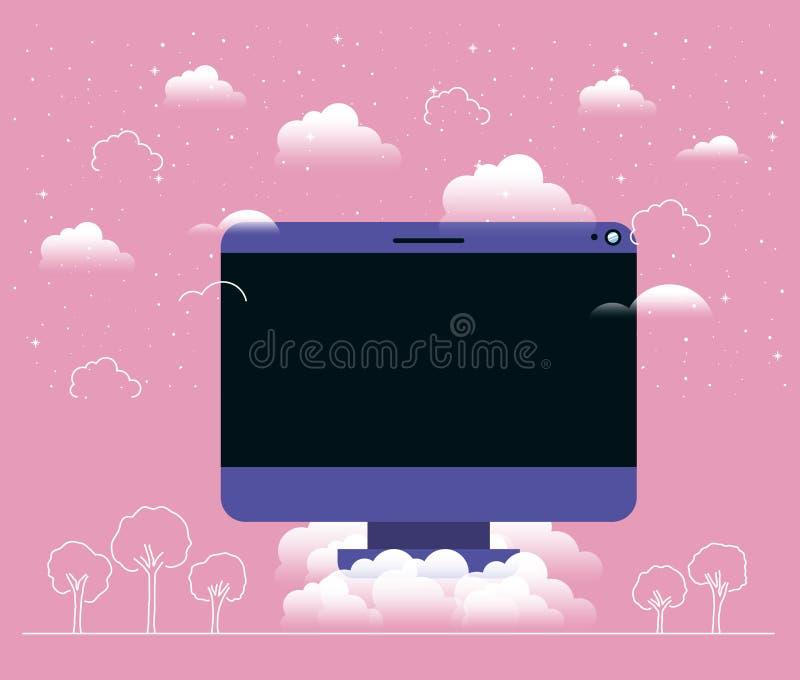 Mesa del ordenador en el cielo libre illustration