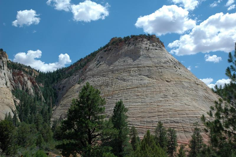 MESA della scacchiera nel parco di Zion National nell'Utah U.S.A. fotografie stock libere da diritti