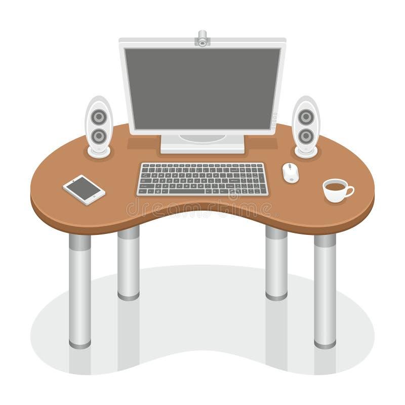 Mesa do computador ilustração do vetor