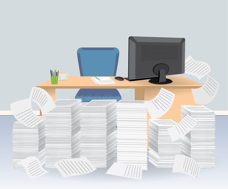 Mesa do computador com a pilha dos papéis ilustração do vetor