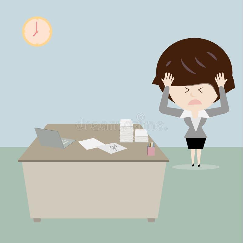 Mesa do esforço e da confusão da mulher de negócio ilustração royalty free