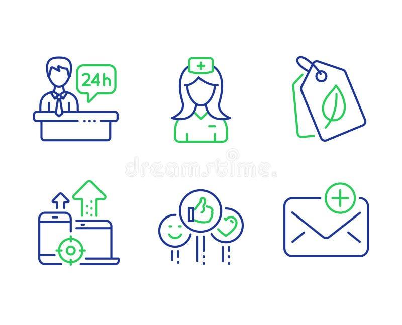 Mesa do gosto, de recepção e de dispositivos de Seo grupo dos ícones Enfermeira do hospital, bio etiquetas e sinais novos do corr ilustração royalty free