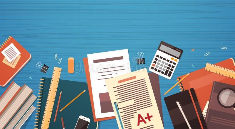 A mesa do local de trabalho documenta o espaço da cópia da opinião de ângulo superior do material do escritório do dobrador dos p ilustração do vetor
