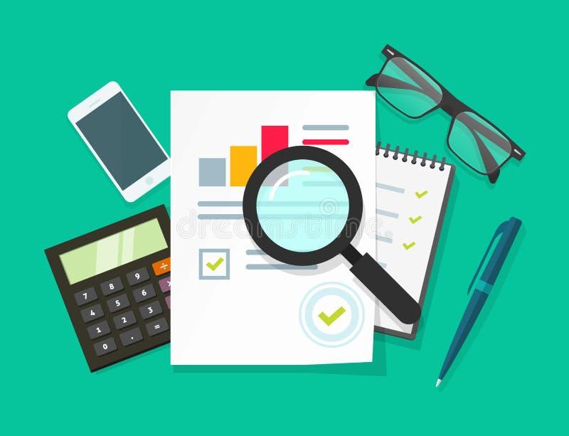 Mesa do trabalho do auditor, investigação empresarial explicando, auditoria financeira, relatório do imposto ilustração royalty free