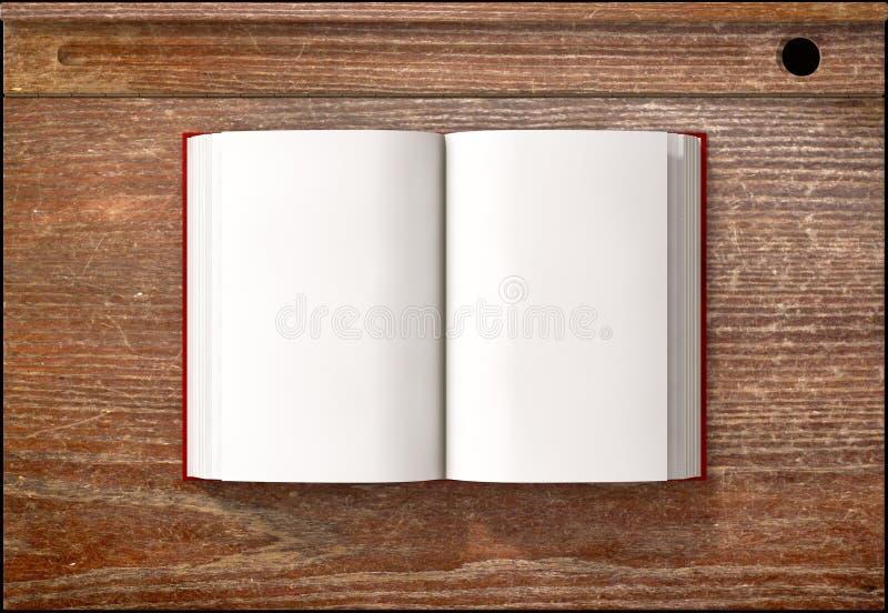 Mesa do vintage com livro aberto imagem de stock
