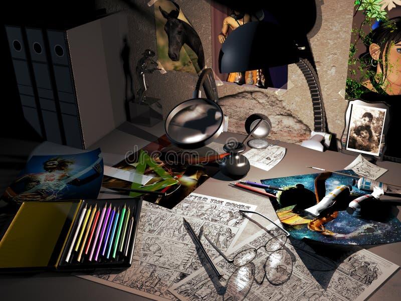 Mesa dos ilustradores ilustração do vetor