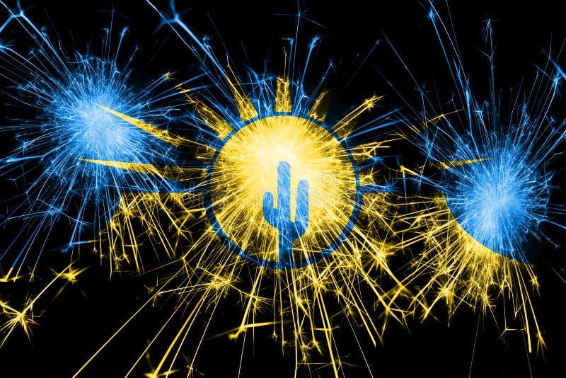 MESA, drapeau de scintillement de feux d'artifice de l'Arizona Concept de nouvelle année, de Noël et de jour national Les Etats-U illustration libre de droits