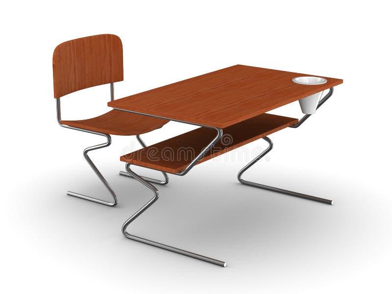 Mesa e cadeira da escola. 3D isolado ilustração stock