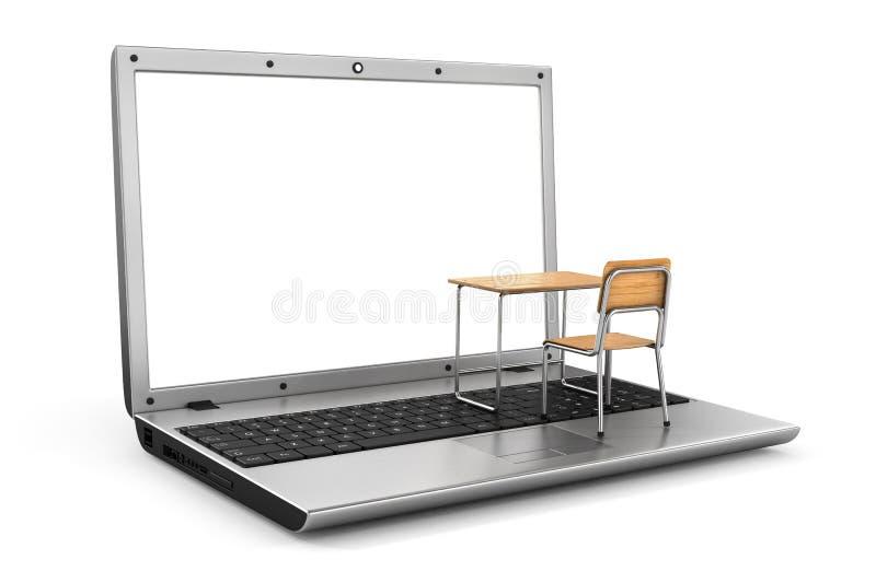 Mesa e cadeira da escola no teclado ilustração royalty free