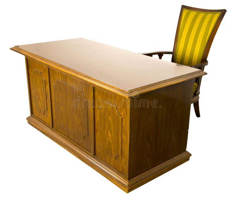 Mesa e cadeira de escrit?rio para neg?cios velha isoladas imagens de stock royalty free
