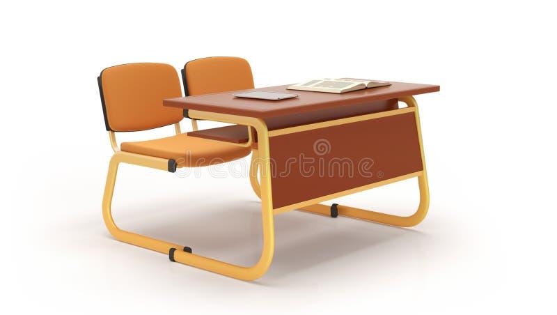 Mesa e cadeiras da escola isoladas no fundo branco rendi??o 3d ilustração do vetor