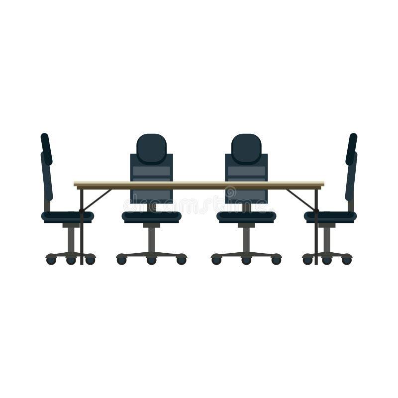Mesa e cadeiras de escritório ilustração stock