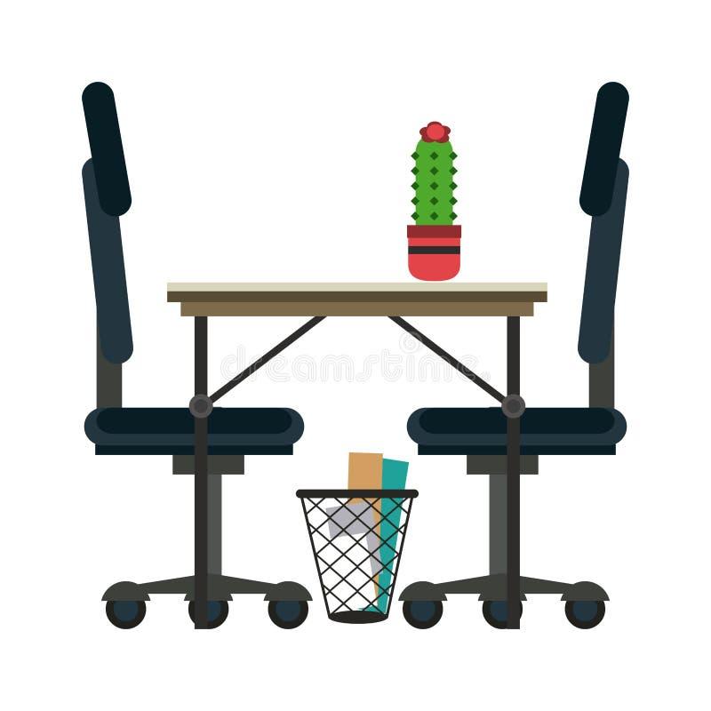 Mesa e cadeiras de escritório ilustração do vetor