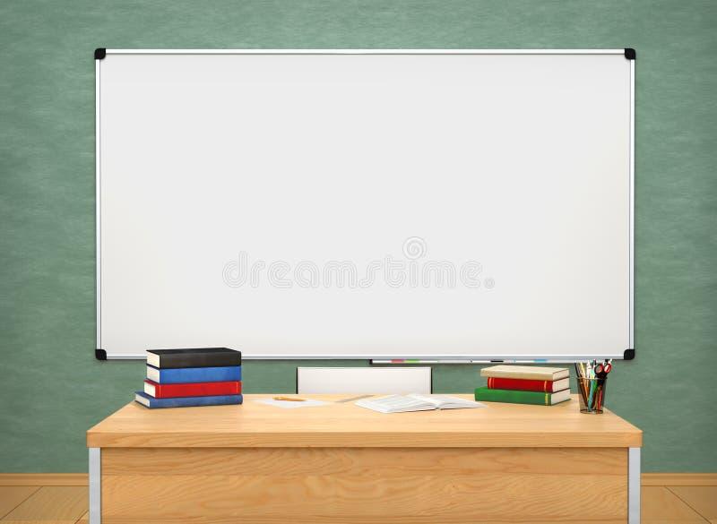 Mesa e classboard da escola ilustração 3D ilustração royalty free