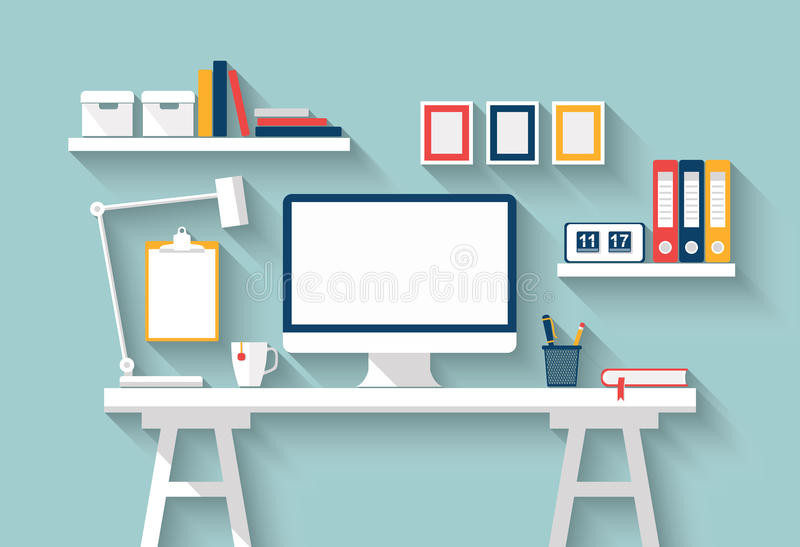 Mesa en blanco del monitor o del ordenador en la tabla blanca en sitio soleado Mofa del vector para arriba Diseño plano con la so imágenes de archivo libres de regalías