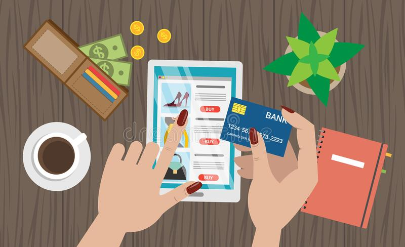 Mesa en línea de las compras stock de ilustración