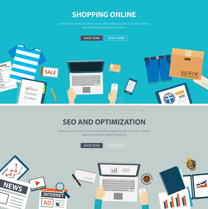 Mesa en línea del concepto de las compras con la optimización del seo ilustración del vector