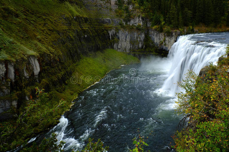 Mesa Falls Large Waterfall River Canyon Powerful stock image