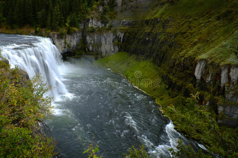 Mesa Falls Waterfall in Canyon Gorge Water Wilderness royalty free stock photos