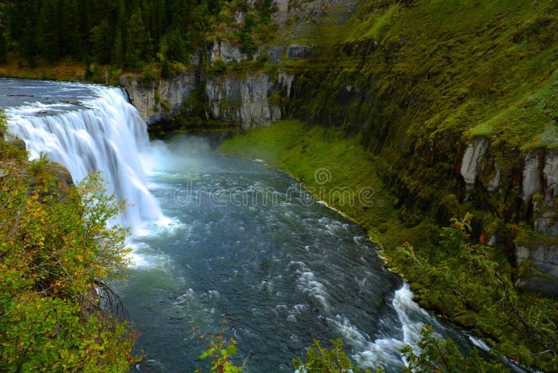 Mesa Falls Waterfall in het Waterwildernis van de Canionkloof royalty-vrije stock foto