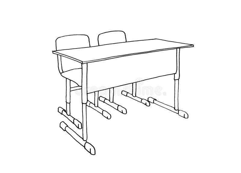 Mesa gráfica da escola do esboço e duas cadeiras ilustração royalty free