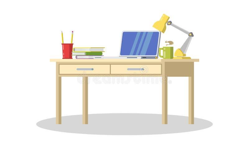 Mesa moderna com computador, lâmpada, dobradores, livros, copo do chá ou café, artigos de papelaria ilustração royalty free