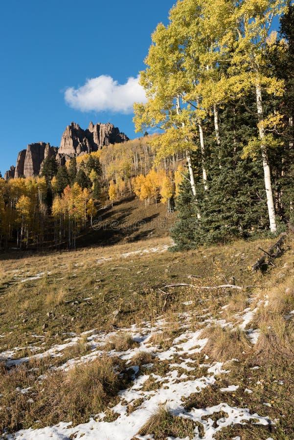 Mesa Pinnacles alto no vale Colorado de Cimarron fotografia de stock royalty free