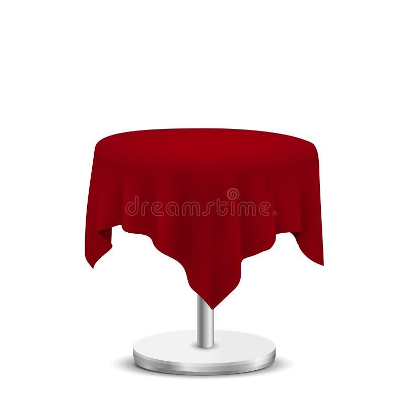 Mesa redonda branca com pano vermelho ilustração stock