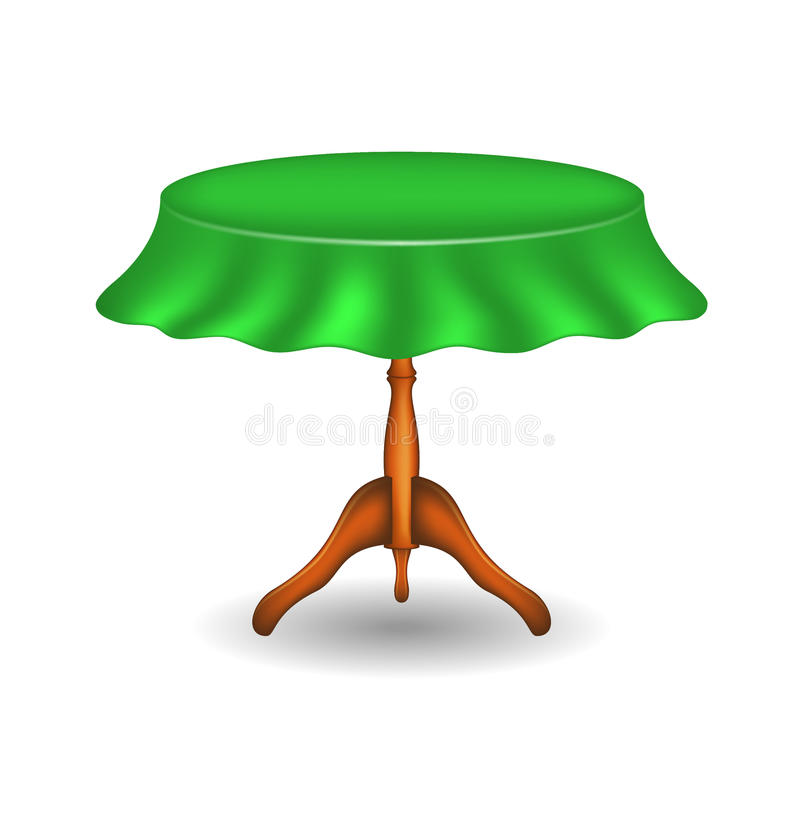 Mesa redonda de madeira com tablecloth ilustração stock