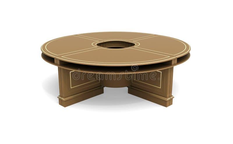Mesa redonda de madeira de Brown ilustração do vetor