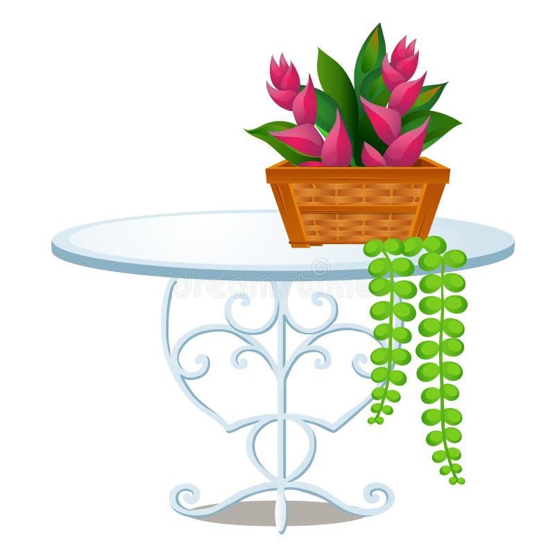 Mesa redonda de vidro com pés forjados do metal e cesta de vime com as flores tropicais isoladas no fundo branco Vetor ilustração do vetor