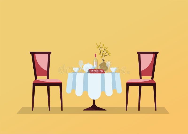Mesa redonda del restaurante reservado con el mantel blanco, copas, botella de vino, pote, cortes, muestra tablero de la reserva  stock de ilustración