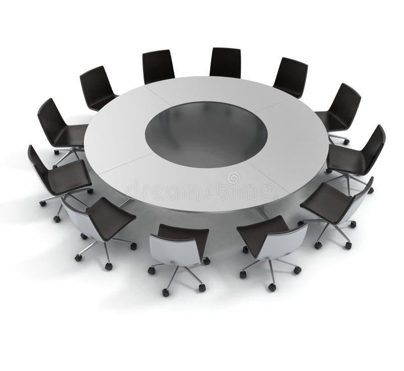 Mesa redonda, diplomacia, conferência, encontrando-se ilustração stock