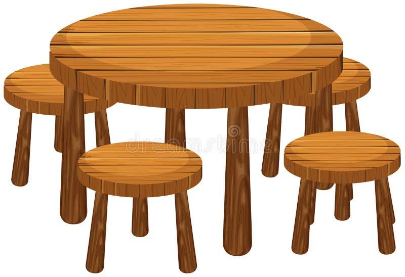 Mesa redonda e cadeiras ilustração do vetor