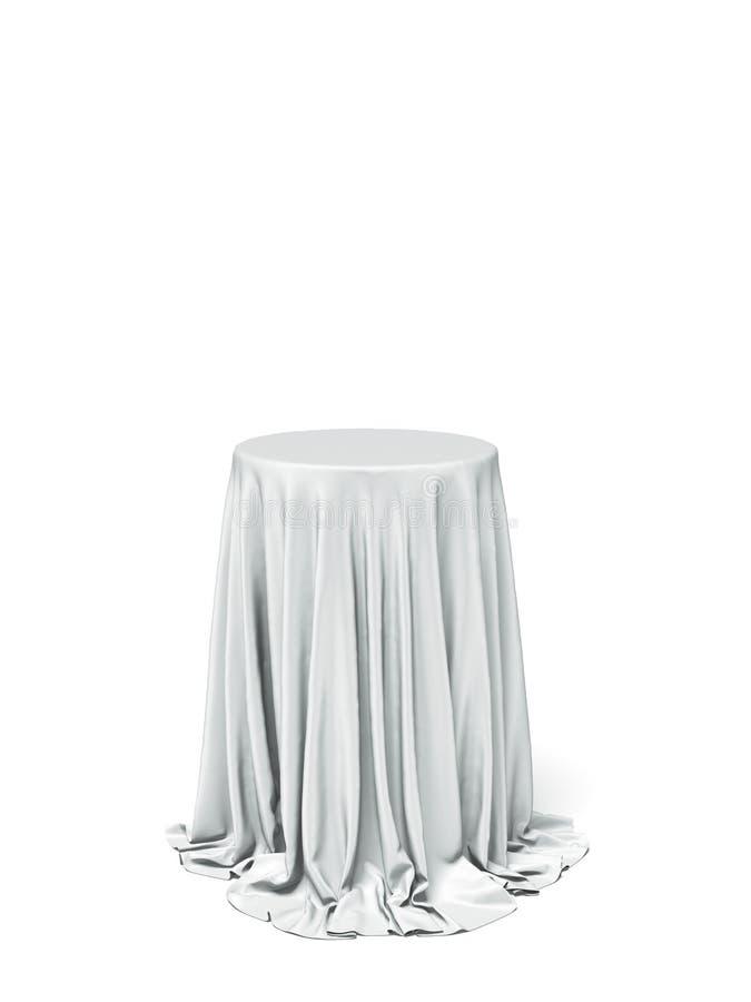 Mesa redonda e pano brancos imagem de stock